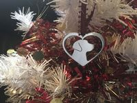 Husky in your heart christmas tree decoration  brass copper or aluminium